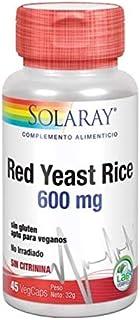 SOLARAY® Red Yeast Rice. 45 VegCaps. Formula de cuidado cardiovascular a base de Monascus purpureus. Sin gluten. Apto para veganos.