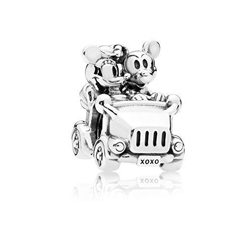 Charm abalorios dijes mickey and minnie en coche compatible con disney plata 925 compatible con pulsera europea ideal para mujer y niña