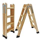 Escaleras Tijera de Madera Pino Doble Subida Certificadas. Ideal para Profesionales Pintor, Escayolista, Electricista o hasta para su hogar! (4 Peldaños)