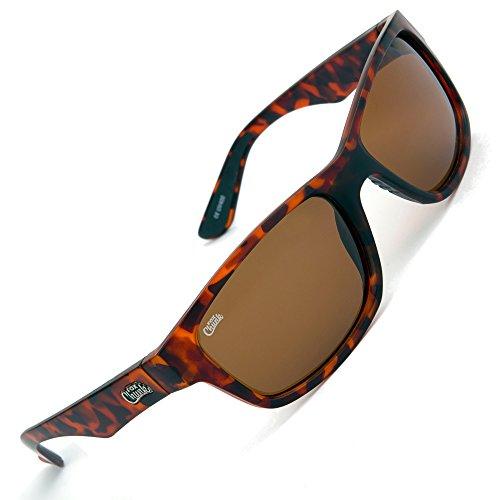FOX Chunk Sunglasses - Polarisationsbrille zum Angeln, Angelbrille, Sonnenbrille zum Karpfenangeln, Polbrille zum Spinnfischen, Modell:Schildpatt Rahmen/Braune Gläser