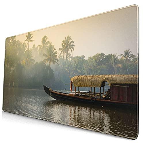 VINISATH Alfombrilla Gaming,Casa Flotante Plana Naranja Kerala anclado en Costas Naturaleza Tranquila Parques de la India Kochi Cochin Turismo Viajes,con Base de Goma Antideslizante,750×400×3mm