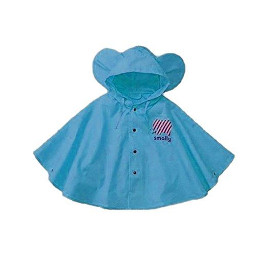 Zmigrapddn Zmigrapddn Cartoon Raincoat, Cute Big Ear Waterproof Kids Raincoat Packable Children's Hooded Poncho Cloak Size S (Blau)