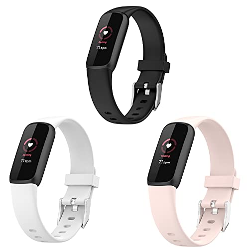 Lamshaw Compatible with Fitbit Luxe Bands, Silicone Replacement Sport Wristband Strap Accessories Compatible with Fitbit Luxe Fitness Tracker 2021 (3 pack-Black+White+Pink, Small size)