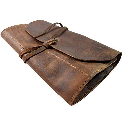 Leder Werkzeugrolle Lederwerkzeug Rollen Big Tool Bag Snap Werkzeug Barber Bleistift Rolle Beutel Handgemachte Multi Purpose Organizer Verpackung für Handwerk