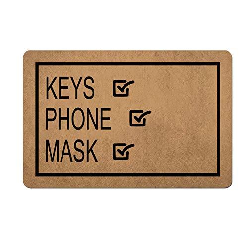 Doormat Funny Front Door Mat- Keys Phone Mask Reminder Mat Door Mat Rubber Non Slip Backing Funny Doormat for Outdoor/Indoor Uses 23.6'(W) X 15.7'(L)