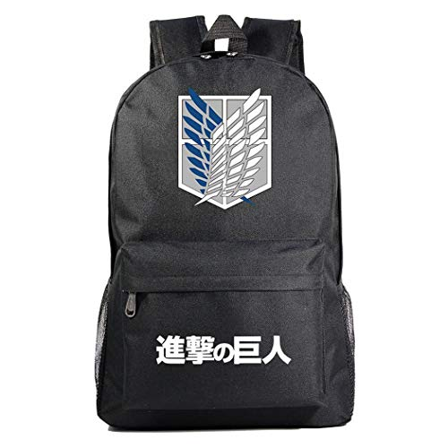 WANHONGYUE Attack on Titan AOT Anime Cosplay Casual Daypack Rucksack Tagesausflug Reisetasche Schwarz /1