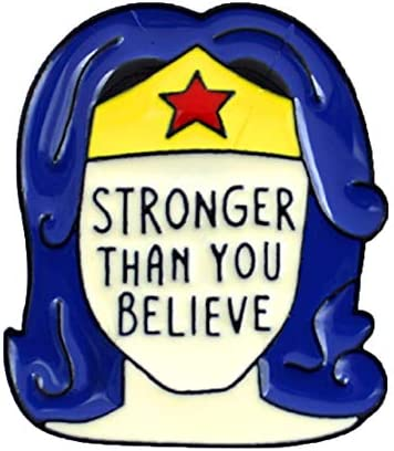 FTH Wonder Woman Stronger Than You Believe Enamel 1 5 Pin is The Perfect Motivational Message product image