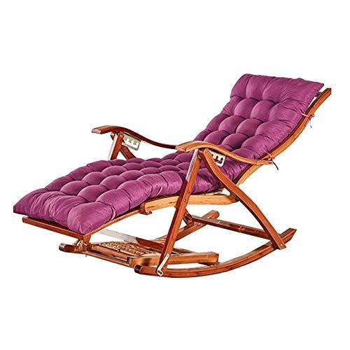 YLCJ Bamboe schommelstoel Opvouwbare ligstoelen Zero gravity ligstoel Dekstoel Multifunctionele eettafel Buiten strandstoel (kleur: 01) 6
