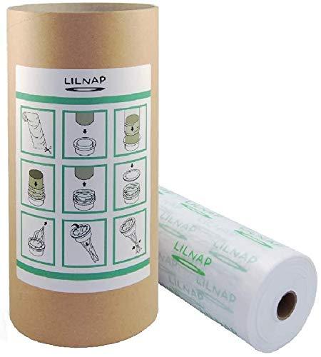 LILNAP Universal Nachfüllfolie für Sangenic Windeltwister Tommee Tippee, TEC & Simplee inklusive Papphülse als Nachfüllhilfe | EVOH - Beschichtung zur Geruchsminderung (200m + Papphülse)
