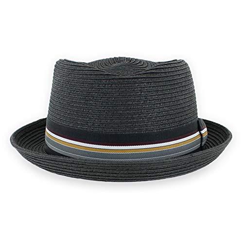 Belfry Men/Women Summer Straw Pork Pie Trilby Fedora Hat in Blue, Tan, Black (Black, X-Large)