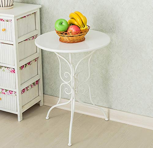 YWXCJ Tables Basses Petite Table Ronde Mini Table Basse Simple Ronde en Fer forgé Table Basse canapé européen Loisirs créatif Salon Balcon Table (Couleur : Blanc)