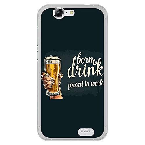 BJJ SHOP Funda Transparente para [ Huawei Ascend G7 ], Carcasa de Silicona Flexible TPU, diseño: Amantes de la Cerveza, Birra Born to Drink