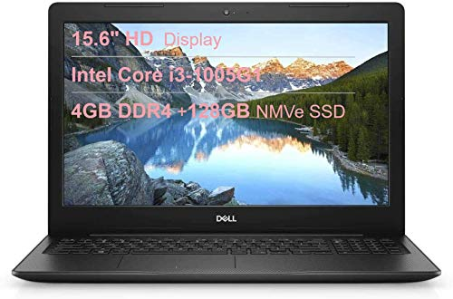 "Dell 3593 15.6"" HD Anti-Glare LED-Backlit Laptop, Intel Core i3-1005G1 up to 3.4GHz, 4GB DDR4, 128GB NVMe SSD, HDMI, 802.11ac, Bluetooth 4.1, Webcam, Windows 10 in S Mode"