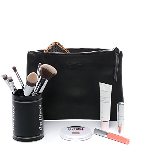 BACCINI Sac cosmétique Cuir véritable Mel Sac de beauté M Femme Trousse de Maquillage Noir