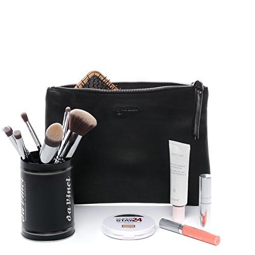 BACCINI make-up tas echt leer Mel make-up tas lederen tas dames zwart