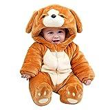 LPATTERN Mono de Franela Invierno para Bebés Unisex Mameluco con Capucha Disfraz de Animales Frutas, Marrón Perro 2, 0-6 Meses