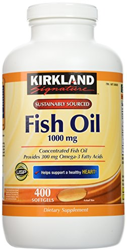 Kirkland Signature Natural Fish Oil Concentrate with Omega3 Fatty Acids  400 Softgels Pack of 2