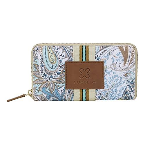 CODELLO Damen Geldbörse, Portemonnaie   Paisley   100% Baumwolle   11 x 20 x 2 cm