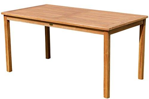ECHT Teak Gartentische Holztisch Tisch in verschiedenen Größen Serie: Alpen von AS-S, Größe:150x80 cm