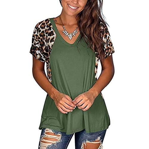 Camiseta De Manga Corta con Estampado De Leopardo Y Cuello En V De Verano para Mujer