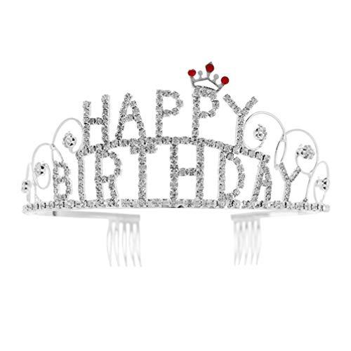 Amosfun joyeux anniversaire bandeau strass couronne bandeau cristal tiara chapeau princesse cerceau pour femmes fille anniversaire douche fournitures de mariée