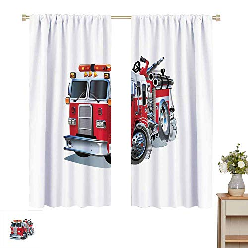 Wear Pole Curtains Decorative Curtains for Living Room Fire Brigade Vehicle Emergency Aid for Public Firefighter Transportation Themed Lorry Room Darkening Noise Reducing Set of 2 Panels W55 x L62
