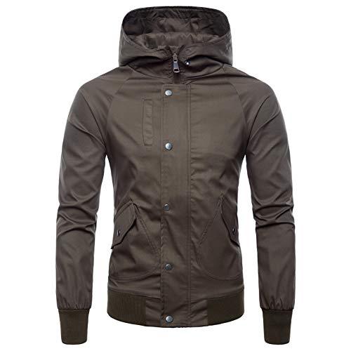 Elonglin Homme Jacket Blouson Veste à Capuche Softshell Fermeture éclair Veste de Pluie Coupe-Vent Sweat-Shirt à Capuche Manteau Veste de Sport Brun Taille FR 54 (Asie XXL)