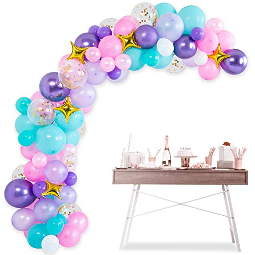 Mermaid Balloon Garland Arch Kit - 105 pcs Latex Pink Purple Aqua White Gold Confetti Foil Star Balloons 16ft, Oh Baby Shower Decorations, Birthday Unicorn Party Supplies Backdrop, Ocean Theme Decor