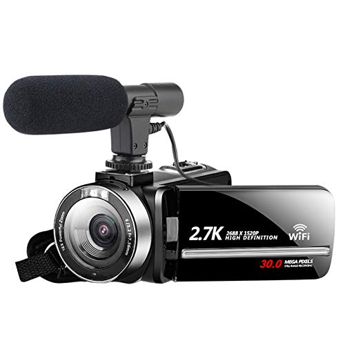 58bh 2.7K Videocamera Vlogging Camera WiFi IR Visione Notturna 1080P Camcorder con 16X Pixel Digitale, 2 batterie ricaricabili, 30MP 3.0 pollici Touch Screen Facile funzionamento con telecomando, CMOS