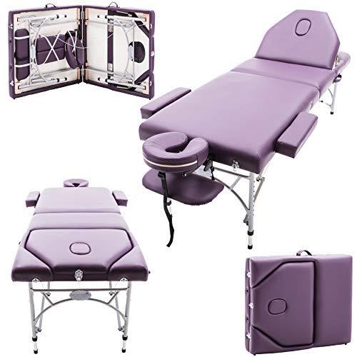 Massage Imperial® - Tragbare Massageliege - Leicht -Caversham 15.5 kg - 7cm /3 Schaumstoff – Aluminium - Violett