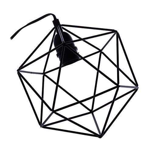 Relaxdays, zwarte draadlamp, industrieel design, woonkamer & hal, geometrisch, rooster tafellamp, HBT 25x25x26,5 cm, ijzer, 25 x 25 x 26,5 cm