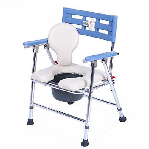 Commode Chaise Pliable en Aluminium Épaississement Renforcé Antidérapant Portable Femmes Enceintes Maison Baignoire Amovible