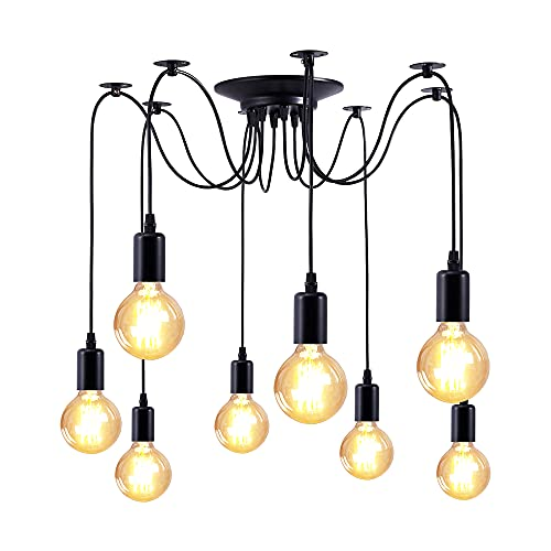 Colgante Araña Vintage Lámpara de 8 Cabezas Lámpara Clásica Techo, con Cable 1.8M Ajustable, para Comedor, Dormitorio, Salón, Decoración (Bombillas No Incluidas)