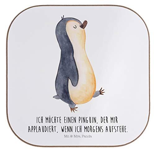 Mr. & Mrs. Panda Geschenk, Frühstück, Quadratische Untersetzer Pinguin marschierend mit Spruch - Farbe Weiß