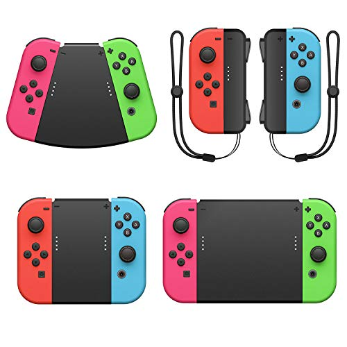 MENEEA 5 in 1 Game Grip Connector per Nintendo Switch JoyCon, comoda impugnatura per controller con cinturino da polso per Nintendo Switch Grip, JoyCon Connector grip per JoyCon Controller