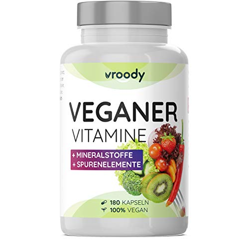 VROODY Vitamine für Veganer und Vegetarier - 180 Kapseln (6 Monatsvorrat) - mit Vitamin B12, B2, D3, Calcium, Eisen, Zink, Jod & L-Lysin - Your daily vegan supplements