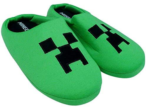 Creeper Jungen Hausschuhe Unisex Kinder Grün Gaming Thema Pantoletten Schuhe Slip On für Mädchen, Grün - grün - Größe: 31/32 EU