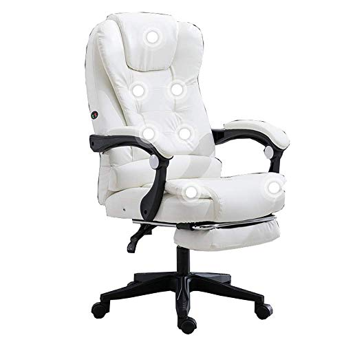 JIEER-C bureaustoel, gevoerd, PU-leer, met beensteun, kantelbare houder, gewicht 150 kg (kleur: gebroken wit) Wit.