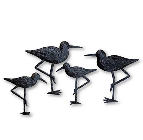 Sandpiper Coastal Birds, Ornamental Sea Bird, Decorative Home Art, Nature Inspired Wall Hanging, Handmade in Haiti, 4, Large and Small, 8.5 in. X 9 in, 6.5 in. X 6.5 in.