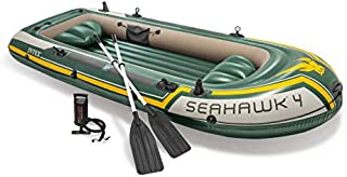 Intex Seahawk 4, 4-Person Inflatable Boat Set with Aluminum Oars and High Output Air -Pump (Latest Model)