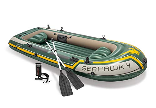 Intex Seahawk 4, 4-Person Inflatable Boat Set with Aluminum Oars and High Output Air Pump (Latest...