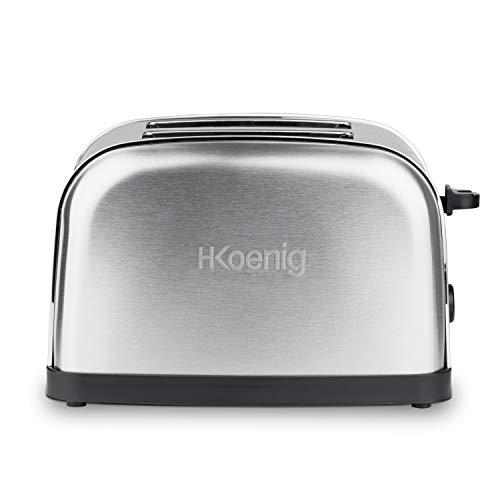 H.Koenig TOS7 Toaster / 2 Scheiben /  6 Bräunungsstufen / 850 W / Edelstahl / silber