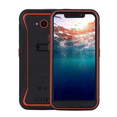 Teléfono móvil resistente, 2GB RAM 16GB ROM Militar al aire libre 3-prueba Pantalla de 5.5 pulgadas IPS Teléfono completo Netcom 4G Smart para Android 8.1, batería 4500MAH, SIM dual(Enchufe de la UE)