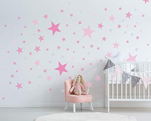 50 Sterne Wandtattoo fürs Kinderzimmer - Wandsticker Set - Pastell Farben, Baby Sternenhimmel zum Kleben Wandaufkleber Sticker Wanddeko - Wandfolie, Kleinkinder, Erstausstattung auf Rauhfaser Pink