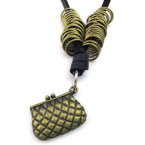 KONOV Bijoux Ciondolo catena regolabile-Collana da uomo, in pelle a portafoglio, Portamonete, Charm da donna, in lega, colore marrone, colore: nero, con F23063-Sacchetto regalo
