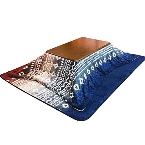 Kaffeetische Wohnzimmer Heiztisch Winter Kimono Tisch Rechteckig Heiztisch Holz Quilt Heiztisch Freizeit Chat Kotatsu (Color : Blue, Size : 80 * 120cm)