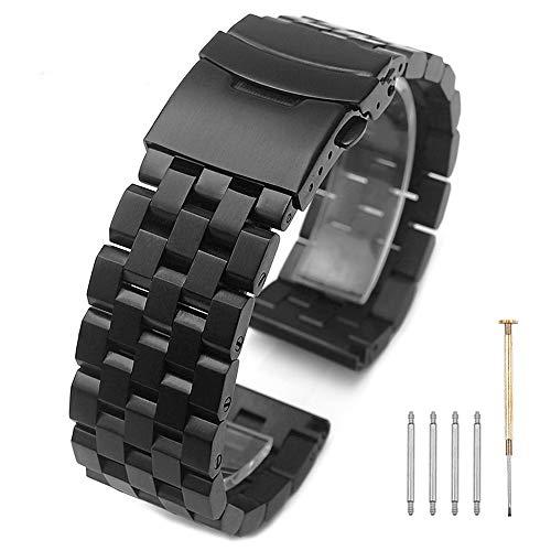 Kai Tian Cinturino di ricambio nero 24mm Cinturini Orologi di alta qualità in acciaio inossidabile a maglie piene Fibbia pieghevole in metallo Cinturino per uomo Donna