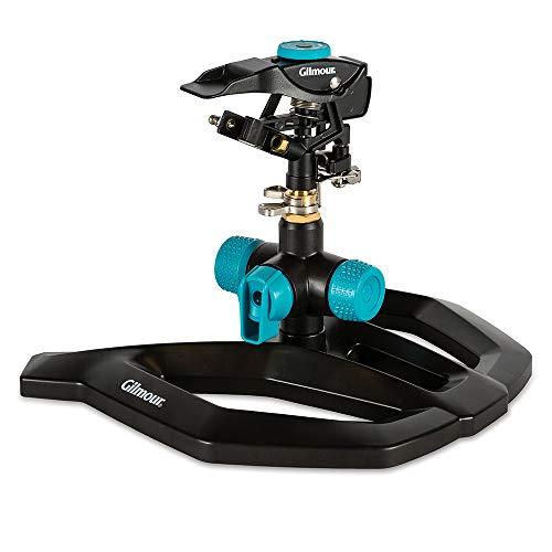 of gilmour sprinklers Gilmour 811673-1001 Circular Sprinkler w/Base-Adjustable (5,800 sq. ft.), Heavy Duty, Black/Aqua