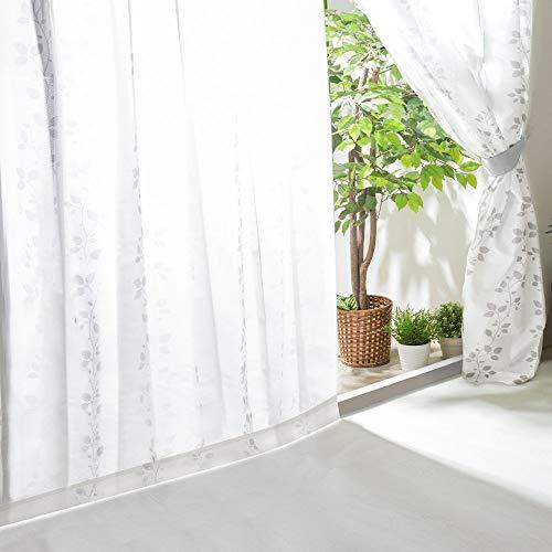 アイリスプラザ レースカーテン UVカット プライバシーカット 外から見えにくい 断熱 保温 2枚組 洗える 洗濯機対応 幅100cm×丈176cm リーフ