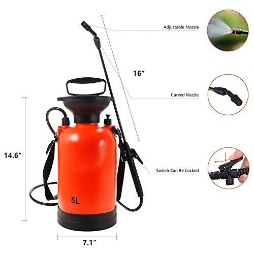 1.3 Gallon Garden Sprayer Waterpomp Drukspuiten met stanggreep en verstelbare schouderriem voor gazon en tuin - (5.0L)
